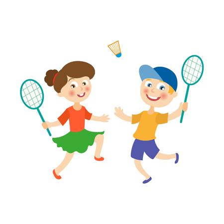 Vector flache Karikaturkinder am Sommerlagerkonzept. Mädchen und Junge, die Badminton, Federball hält Schläger spielen. Getrennte Abbildung auf einem weißen Hintergrund.