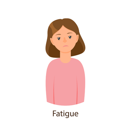 Vector cartoon young sick girl suffering from fatigue. Flat female character isolated illustration on a white background. Illness and disease symptoms concept