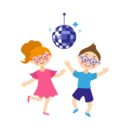 vector flat cartoon children at summer camp concept. Girl and boy having fun dancing at party with disco ball. Isolated illustration on a white background. Illustration