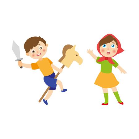 vettore bambini cartone animato piatto al concetto di campo estivo. Ragazzo che gioca con la spada di legno del giocattolo e del cavallo, ragazza in vestiti etnici che cantano o che agiscono nel gioco. Illustrazione isolato su uno sfondo bianco.