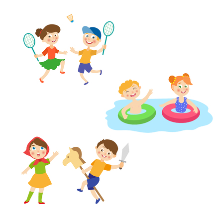 vector cartoon summer camp kids activity set. Girls and boys playing badminton, having fun in swimming pool with inflatable rings, playing roles at stage. Isolated illustration on a white background.