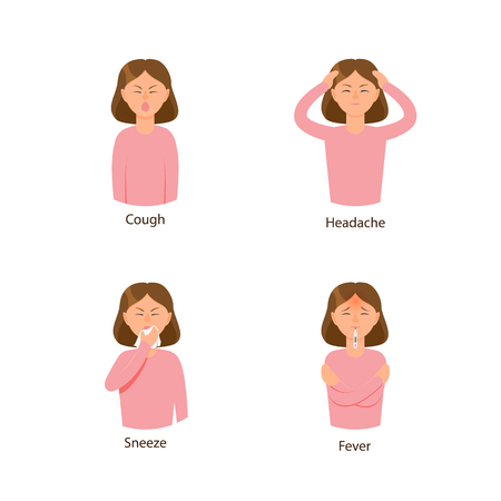 Vector young sick girls set suffering from different disease symptoms fever, headache, fatigue, cough and sneezing rhinitis. Flat isolated illustration on a white background. Illness symptoms concept