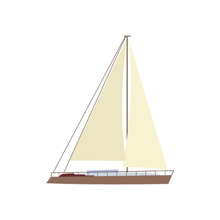 Flat style sailing ship, boat, sailboat icon, symbol, decoration element, vector illustration isolated on white background. Flat cartoon vector illustration of litttle yacht, sailing ship, sailboat Ilustração