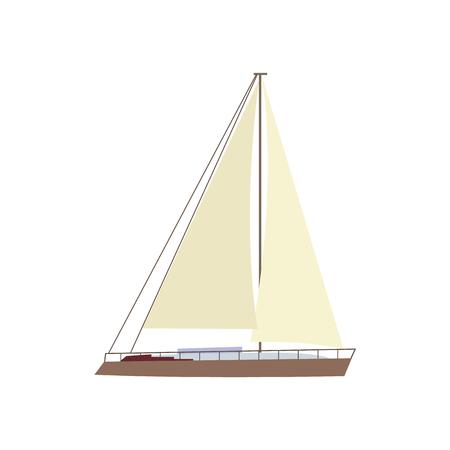 Vlakke stijl zeilschip, boot, zeilboot pictogram, symbool, decoratie-element, vector illustratie geïsoleerd op een witte achtergrond. Platte cartoon vectorillustratie van kleine jacht, zeilschip, zeilboot