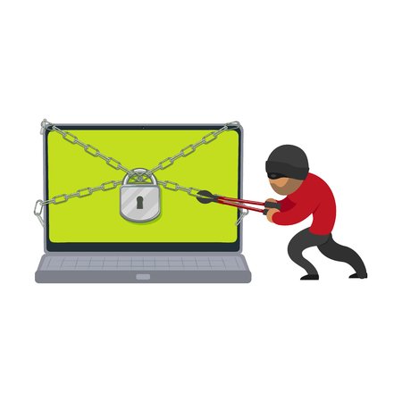 vector flat cartoon hacher data attack concept. Bandit hacking laptop protected by lock and chain, . Isolated illustration on a white background.