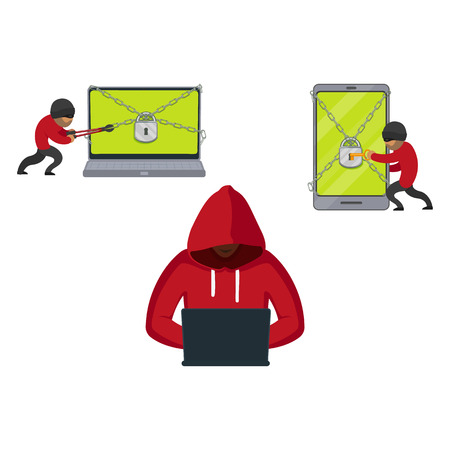 vector flat cyber theft set. Man sitting in front of laptop, hacking security system, Bandit hacking smartphone, laptop protected by lock chain. Isolated illustration on white background.
