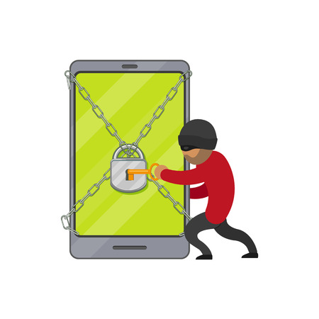 vector flat cartoon hacher data attack concept. Bandit hacking smartphone protected by lock and chain, opening it by golden key. Isolated illustration on a white background. Illustration