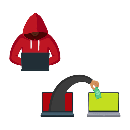 vector flat cartoon cyber theft, fraud concept set. Hacker hand picking dollar note from private laptop, man in red pullover with cloak sitting with pc. Isolated illustration on a white background.