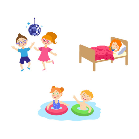 vector cartoon summer camp kids activity set. Girls and boys dancing at party, having fun in swimming pool with inflatable rings, sleeping in bed. Isolated illustration on a white background. Illustration