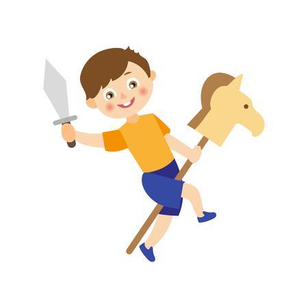 Niños de dibujos animados plano de vector en el concepto de campamento de verano. Niño jugando con el caballo de madera y la espada de juguete jugando el papel en el escenario. Ilustración aislada en un fondo blanco. Foto de archivo - 87535263