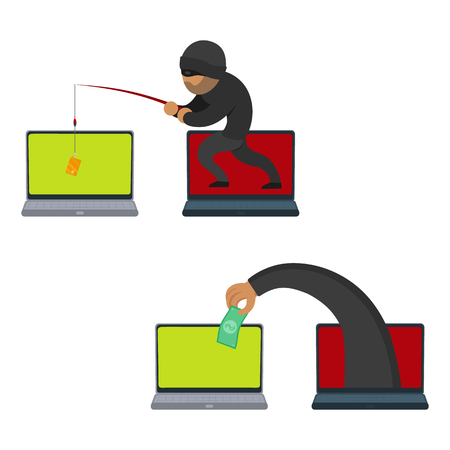 vector flat cartoon cyber theft, fraud concept set. Hacker stealing credit card from private laptop by fishing rod, hand stealing dollar from pc. Isolated illustration on a white background. Ilustração