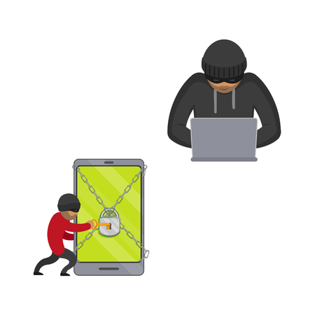 vector flat cyber theft set. Man sitting in front of laptop, hacking security system, Bandit hacking smartphone protected by lock chain, opening it by key . Isolated illustration on white background.