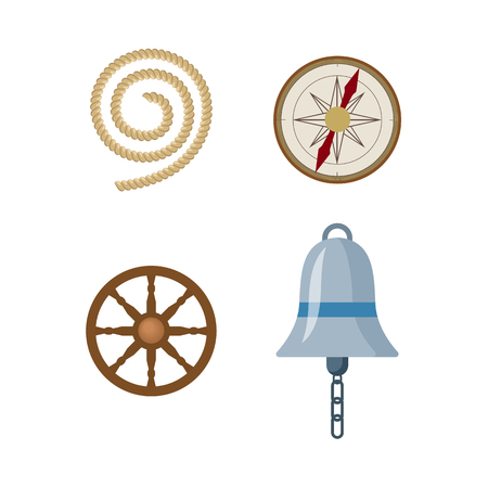 vecotr flat cartoon nautical, marine symbols set. Compass or Rose of Wind and wooden boat steering wheel, ship signal bell, mooring rope, icons. Isolated illustration on a white background. Иллюстрация