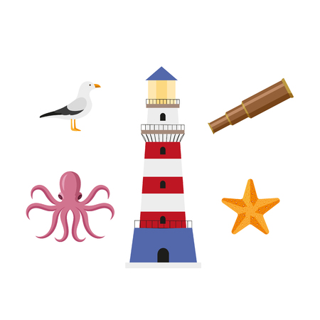 vector flat cartoon nautical, marine symbols set. Golden starfish, pink octopus poulpe, seagull, lighthouse and wooden spyglass. Isolated illustration on a white background.