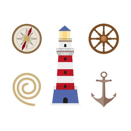 vecotr フラット漫画の海事、海洋のシンボルを設定します。コンパス ローズの風や木製ボートのステアリング ホイール、アンカー、灯台、係留ロー  イラスト・ベクター素材