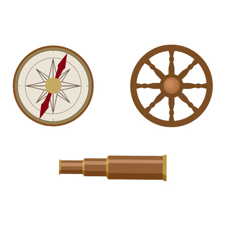 vecotr flat cartoon nautical, marine symbols set. Compass or Rose of Wind and wooden Spyglass, boat ship steering wheel icons. Isolated illustration on a white background.