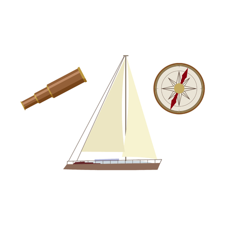 vecotr flat cartoon nautical, marine symbols set. Sailing yacht with big white sails, compass or Rose of Wind and wooden Spyglass icons. Isolated illustration on a white background.