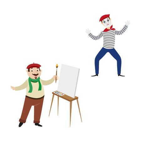 벡터 플랫 프랑스 parisian MIME 남자 광대 스트라이프 pullover, bowtie beret, 빈 캔버스와 젤 근처 브러시로 남성 문자 화가 예술가 설정합니다. 흰색 배경에