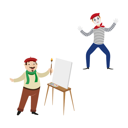 vector flat French parisian mime man clown in striped pullover, bowtie beret, male character painter artist with brush near easel with blank canvas set. Isolated illustration on white background