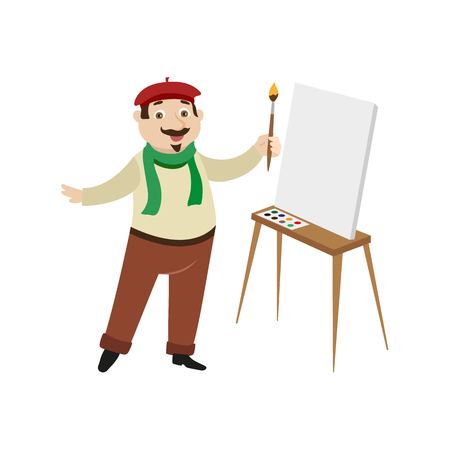 vector flat cartoon man artist painter wearing beret, scarf mustache drawing on easel canvas. French parisian style male portrait full length. Isolated illustration ona white background Illustration
