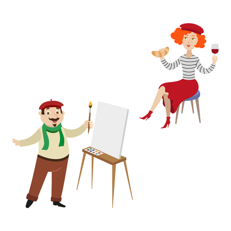 vector flat French parisian woman with croissant and glass of wine sitting at chair male character painter artist with brush near easel with blank canvas set. Isolated illustration on white background