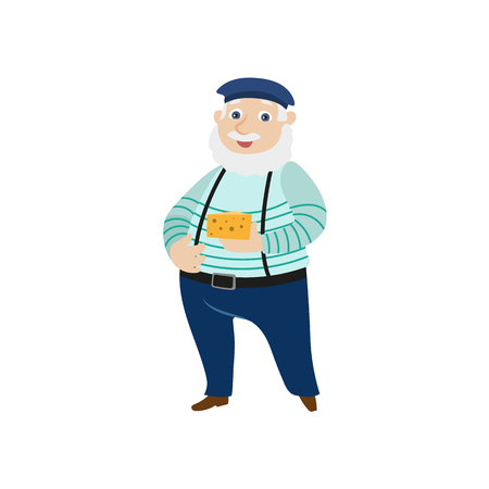 Homme de dessin animé plat vecteur avec moustache grise et barbe tenant fromage portant béret feutre, pantalons sur les bretelles. Portrait d'homme de style parisien français pleine longueur. Illustration isolée ona fond blanc Banque d'images - 87535286