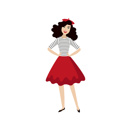vector flat cartoon beautiful young woman in red felt beret, long dress smiling. French, parisian style female portrait full length. Isolated illustration ona white background. Иллюстрация