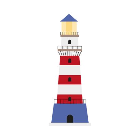 Colorful lighthouse icon, symbol, decoration element, flat style cartoon vector illustration isolated on white background. Flat cartoon illustration of marine lighthouse, red, blue and white