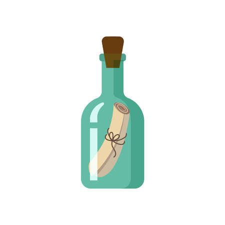 Message, letter, scroll in transparent green glass bottle, flat style cartoon vector illustration isolated on white background. Flat cartoon vector illustration of message in bottle
