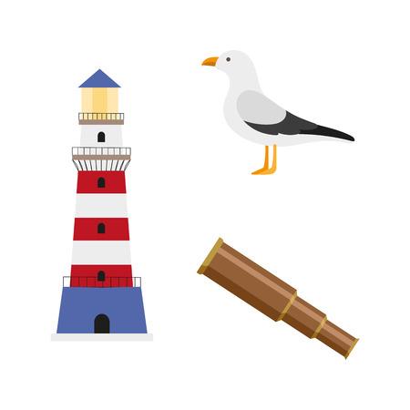 vector platte cartoon nautische, mariene symbolen instellen. zeemeeuw, vuurtoren en houten kijker. Geïsoleerde illustratie op een witte achtergrond.