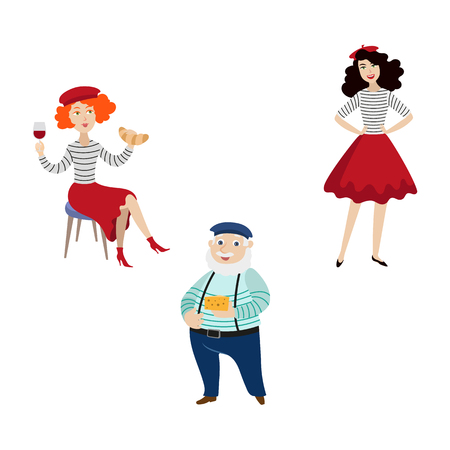 vector flat French parisian woman with croissant and glass of wine, girl in red skirt, beret and striped pullover, male character in pants on suspenders set Isolated illustration on a white background Illustration