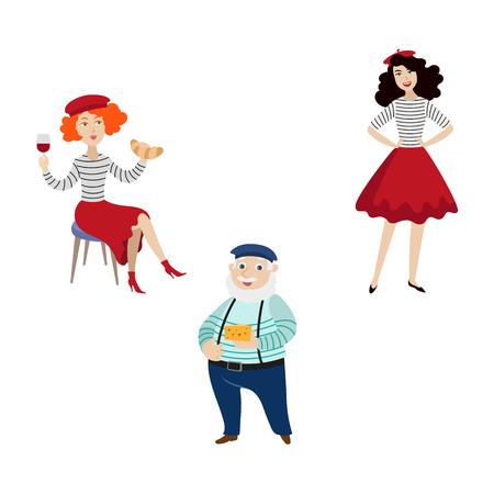 vector platte Franse Parijse vrouw met croissant en glas wijn, meisje in rode rok, baret en gestreepte pullover, mannelijk karakter in broek op bretels instellen geïsoleerde illustratie op een witte achtergrond