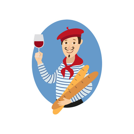 vector cartoon young man in scarf, striped pullover, beret holding baguette bread loafs and glass of red wine. French parisian style male portrait. Isolated illustration ona white background