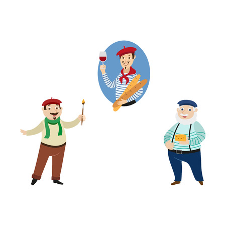 vector flat French parisian man with baguette and glass of wine, male character in pants on suspenders with cheese and painter arstist with brush set Isolated illustration ona white background Ilustração