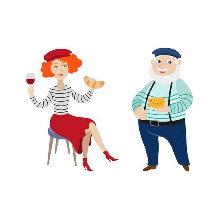 Fransen, karakters kaas en croissant, drinken van wijn, symbolen van Frankrijk, cartoon vectorillustratie geïsoleerd op een witte achtergrond te eten. Typische, stereotiepe Franse mensen en eten Stock Illustratie