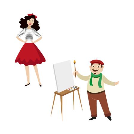 Caratteri francesi, artista divertente e ragazza di modo, simboli della Francia, illustrazione di vettore del fumetto isolata su fondo bianco. Tipici, stereotipati francesi, pittore e ragazza in berretto rosso Archivio Fotografico - 87535302