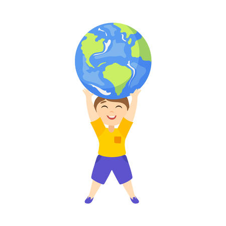 Vector save the planet concept. Flat cartoon happy boy kid lifting earth globe planet high by his hands smiling. Isolated illustration on a white background. Illustration