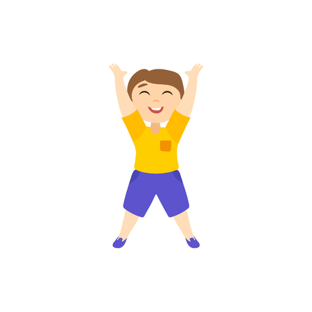 Vector flat cartoon boy character pulling his hands up to the sun isolated illustration on a white background. Smiling cheerful child, kid icon image. Illustration