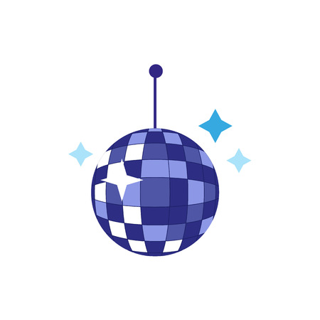 vector flat cartoon style blue shiny glossy disco ball sparcling with stars. Isolated illustration on a white background. Party attribute, retro symbol.