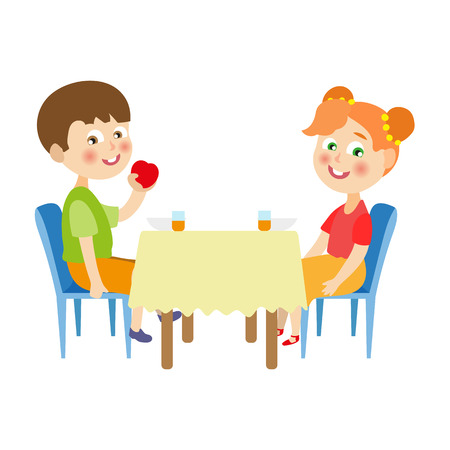 vector flat cartoon children at summer camp concept. Girl and boy kids sitting at big table eating vegetables, fruits and porridge holding forks spoons. Isolated illustration on a white background.