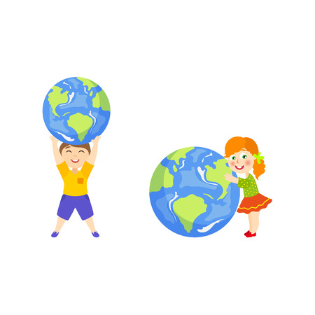 head protection: Kid, boy holding Globe, Earth planet symbol over head, girl hugging it lovingly, cartoon vector illustration isolated on white background. Boy, kids and big globe, Save the Earth concept