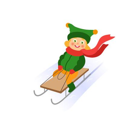 vector girl having fun enjoying sleigh ride. Flat cartoon isolated illustration. Kid sledding, ride a sledge outdoors. Winter children activity concept Illustration