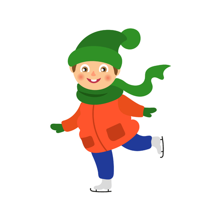 vector boy having fun racing ice skates outdoors. Flat cartoon isolated illustration on a white background. Kid plays smiling. Winter children activity concept