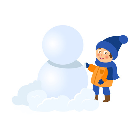 vector boy having fun with snow outdoors. Flat cartoon isolated illustration on a white background. Kid makes big snowball for snowman smiling. Winter children activity concept