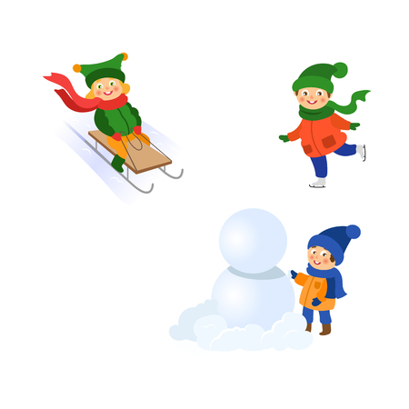 vector boy making big snowball for snowman, girl ridinge a sledge, girl ice-skating set. Flat cartoon illustration isolated on a white background. Winter children activity concept
