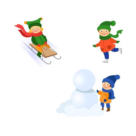 Vettore ragazzo facendo grande palla di neve per pupazzo di neve, ragazza ridinge una slitta, ragazza pattinaggio su ghiaccio insieme. Illustrazione del fumetto piatto isolato su sfondo bianco. Inverno concetto di attività per bambini Archivio Fotografico - 87535321