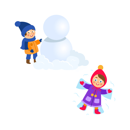 vector boy making big snowball, girl lying in snow making snow angel set. Flat cartoon illustration isolated on a white background. Winter children activity concept