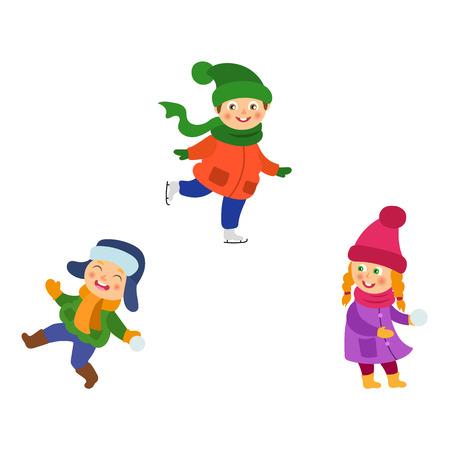 Kinder, Kinderwintertätigkeiten - Schneebälle spielen, Eislaufen, Spaß haben, Karikaturvektorillustration lokalisiert auf weißem Hintergrund. Kinder, Kinder, die den Winter genießen, Schneeball spielen, Eislaufen Standard-Bild - 87535328