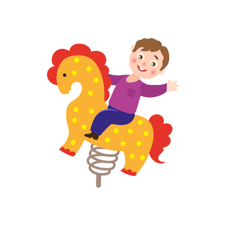 vector flat children in amusement park concept. Boy kid having fun at wooden spring seesaw horse. Isolated illustration on a white background. Illustration