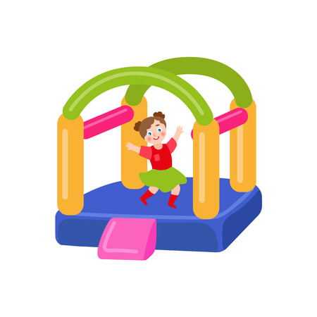 vector flat children in amusement park concept. Girl having fun in rubber inflatable playground bouncy castle trampoline with colored towers. Isolated illustration on a white background.